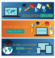 Web banner concept for online education vector image