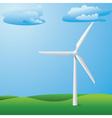 Wind turbine on grass field vector image