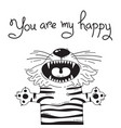 with joyful tiger who says - you are vector image vector image