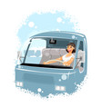 woman driver in a car vector image
