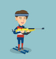 young caucasian biathlon runner aiming at target vector image vector image
