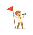 cute little boy in scout costume with red flag vector image