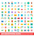 100 smartphone icons set cartoon style vector image vector image