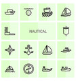 14 nautical icons vector image vector image