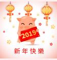 2019 zodiac pig year cartoon character with vector image vector image
