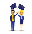 a couple with european waving flags vector image vector image