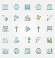 aquarium colorful icons vector image vector image