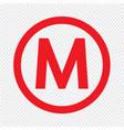 basic font letter m icon design vector image vector image