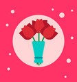 bouquet tulips flowers icon on pink background vector image