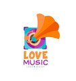 bright music logo with gramophone old school vector image