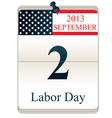 Calendar for Labor Day vector image vector image
