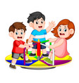 children play carousel with pleasure vector image