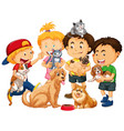 children playing with dogs and cats isolated vector image