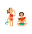 children summer at beach girl and boy with snack vector image vector image