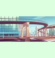 cityscape with skyscrapers and overpass highway vector image vector image