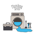 color poster of washing machine dripping plumbing vector image vector image