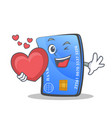 credit card character cartoon with heart vector image vector image