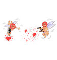 cupid in mask aims gun isolated white background vector image