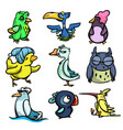 cute funny colorful birds with different emotions vector image vector image