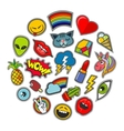 Cute patches icons in circle design vector image vector image