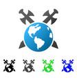 earth swords flat gradient icon vector image vector image