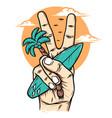 feel peace on beach vector image