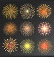 festive fireworks collection realistic colorful vector image vector image