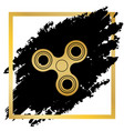fidget spinner sign golden icon at black vector image