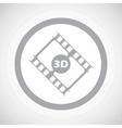 Grey 3D movie sign icon vector image vector image