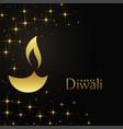 happy diwali golden diya with sparkles background vector image vector image