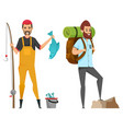 hobfishing and hiking male leisure vector image vector image