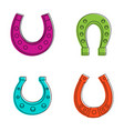 horse shoe icon set color outline style vector image