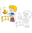 Little artist draws vector image