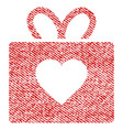 love gift fabric textured icon vector image vector image