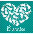 many rabbits forming a heart background lines vector image vector image