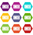 microwave icons set 9 vector image