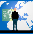 migration man silhouette and map of world in vector image