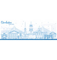 Outline charleston south carolina skyline with vector image