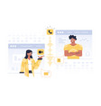 people communication in windows vector image vector image