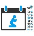 Pray Person Calendar Day Icon With Bonus vector image vector image