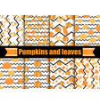 pumpkins and leaves seamless pattern with zig zag vector image vector image