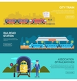 Railway design concept set with train station vector image vector image