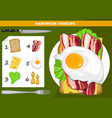 sandwich cooking infographic vector image