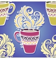 Seamless Pattern with Cups of Tea vector image