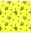 Seamless pattern with olives on yellow background vector image vector image