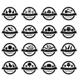 set labels with vegetables in black and white vector image vector image