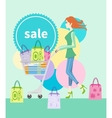 Shopping girl with trolley shopping bag with lable vector image vector image