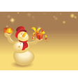 Snowman with cake and gift on gold vector image