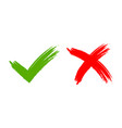 tick and cross signs brush vector image