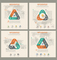 triangle shape infographic set template flat vector image